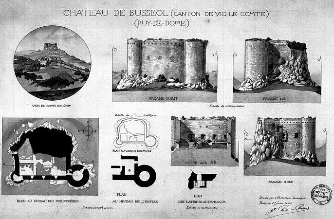 Plan du château de Busseol (Jean Gourbeix (Photographe) - Ministère de la Culture)