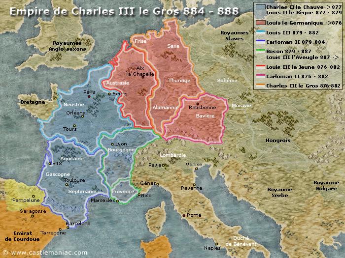 Empire de Charles III le Gros 884 - 888