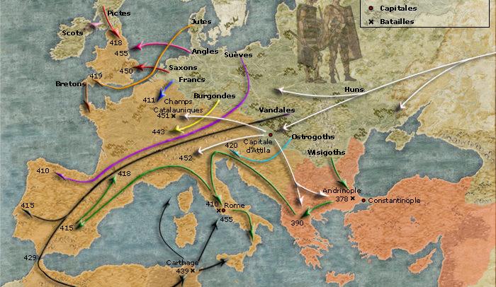 Cartes des invasions barbares
