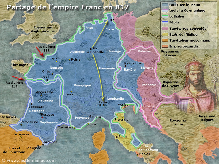 Partage de l'empire Franc en 817