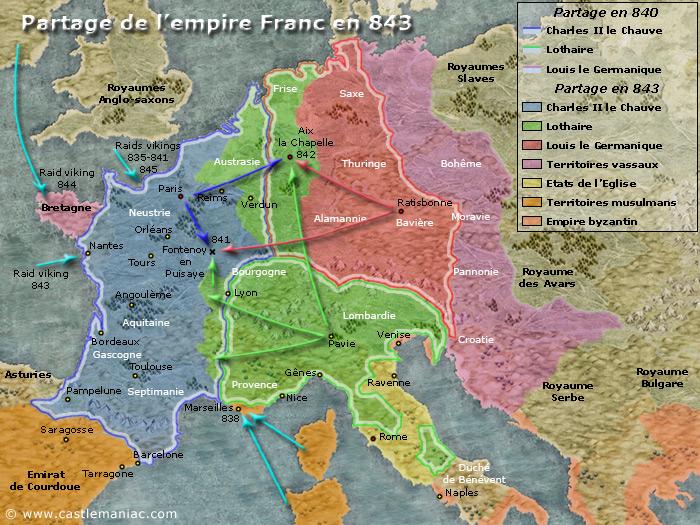 Partage de l'empire Franc en 843