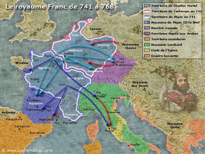 Le royaume franc de Pépin le Bref de 741 à 768