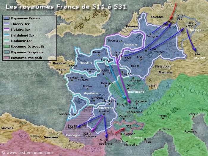 Les royaumes francs de 511 à 531