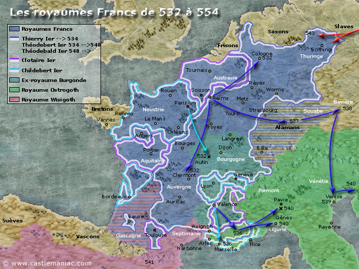 Les royaumes francs de 532 à 554