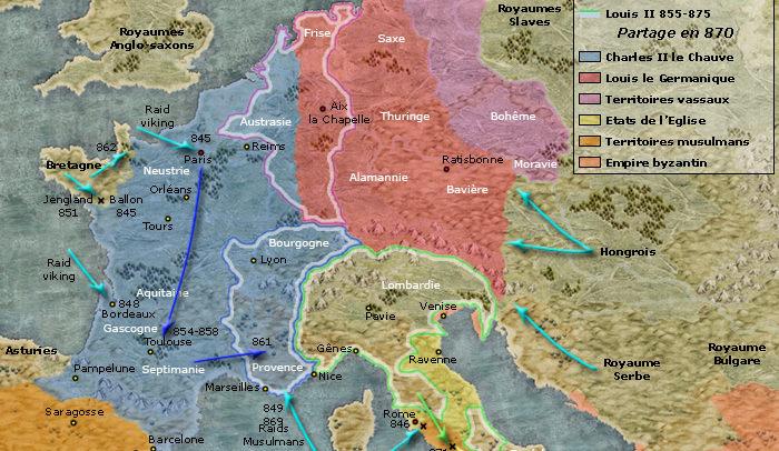 Les royaumes Francs 843 - 870