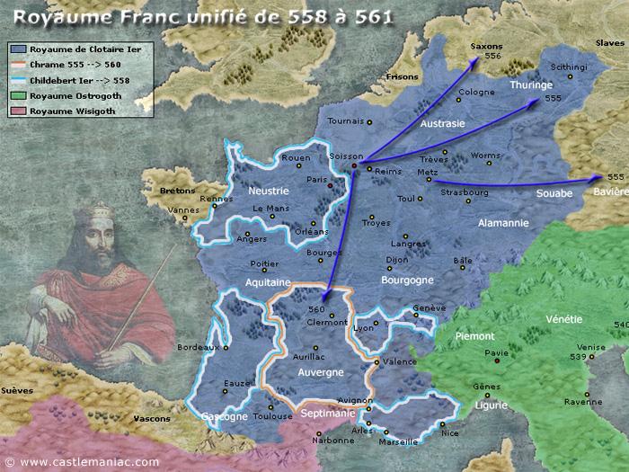 Le royaume franc de Clotaire Ier de 558 à 561